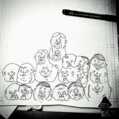 Zombie Heads. Work in progress. #horror #alien #mythical #creature #monster #mutant #weird #creepy #zentangle #tattoo #tattoos #tattooart #zentangleart #adultcoloringbook #coloringbook #sketch #sketchbook #cartoon #cartoons #cartoonist #illustrator #illustration #WIP #darkart #art #unicorn #fantasy #streetart #drawing #doodle by travel_through_my_mind