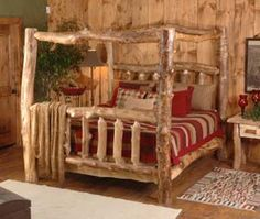 Log Bed With Canopy Log Bedroom Furniture