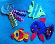 Fish ideas for Under The Sea page using sequins, rick rack, embroidery thread and beads. Use your imagination!