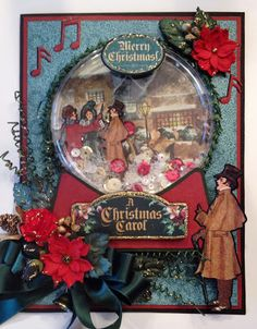 Christmas Snow Globe Shaker Card Tutorial Featuring A Christmas Carol from Graphic 45 by Anne Rostad