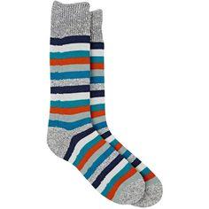 Corgi Men's Striped Cotton Mid-Calf Socks ($35) ❤ liked on Polyvore featuring men's fashion, men's clothing, men's socks, blue, mens colorful socks, mens cotton socks, mens striped socks, mens blue socks and mens socks
