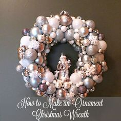 How to Make an Ornament Christmas Wreath tutorial. Watch the video for this easy craft this season. #holiday #christmas #wreath #DIY #crafts