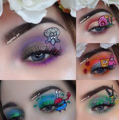 Spongebob makeup Disney Eye Makeup, Rave Makeup, Eye Makeup Art, Fairy Makeup, Mermaid Eye Makeup, Crazy Eye Makeup, Exotic Makeup, Colorful Eye Makeup, Make Up Designs