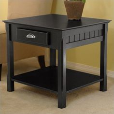 Solid Wood 1 Drawer Side End Table With Shelf Country Mission Living Room Black #WNSFurniture #CountryMission