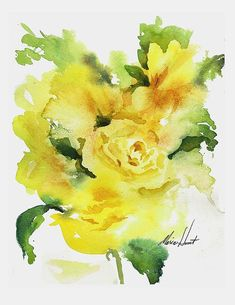 Fabulous yellow rose in loose-style watercolor!