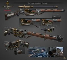 Various steampunk firearms. Arma Steampunk, Steampunk Weapons, Sci Fi Weapons, Weapon Concept Art, Victorian Steampunk, Weapons Guns, Fantasy Weapons, Steampunk Fashion, Fallout Weapons