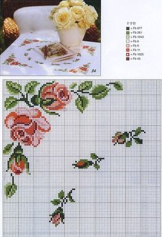 Really nice Cross-Stitch towel flowers patterns. Cross Stitch Borders, Cross Stitch Rose, Cross Stitch Baby, Cross Stitch Flowers, Cross Stitch Charts, Cross Stitch Designs, Cross Stitching, Cross Stitch Patterns, Diy Embroidery