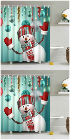 Waterproof Snowman Printed Bath Christmas Shower Curtain