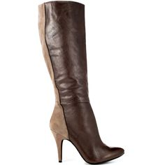You'll look naturally sexy in this Naveens by Jessica Simpson.  A brown leather flows with a strip of taupe suede at the back extending to the 4 inch heel.  This rounded toe boot is on point for the fall and winter months to come.
