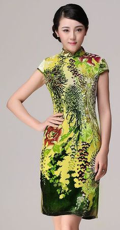 Green Chrysanthemum floral silk velvet short Chinese qipao dress Available size S-4XL #qipao #dress #green #Chinese #Cheongsam