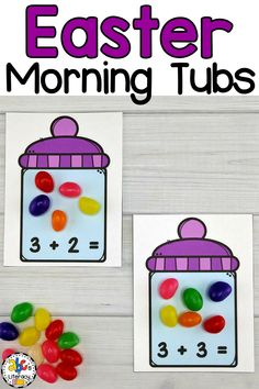 "Are you looking for a new morning routine? These Easter Morning Tubs are an ""egg-cellent"" way to start your day! Your preschoolers, kindergartners, or first graders will use these April Morning Tubs to learn and review 5 math concepts like adding to 10. This set of fun, hands-on Easter activities also include 5 literacy morning tubs that are perfect for children around the ages of 4-6. Click on the picture to learn more about these morning work activities! #morningtubs #additionactivities"