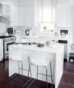 White Kitchen Ideas - Transitional - kitchen - Style at Home Classic White Kitchen, White Kitchen Decor, All White Kitchen, Kitchen Interior, New Kitchen, Kitchen Dining, Dining Rooms, Kitchen Island, Small Kitchen Layouts