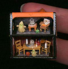 Tiny Halloween Dollhouse 1/144 scale by Sheila A. Nielson