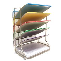 Seville Classics Mesh Letter 6-Tray Desk Wall Organizer is a beautiful platinum powder coated desk wall organizer.  Perfect for organizing and storing files, folders and bills to reduce the amount of clutter in your office or kitchen.