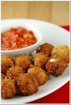 Fried Mozzarella Balls with Quick Tomato Sauce