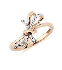 Rose Gold Diamond Bow Ring
