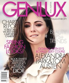 GENLUX SPRING 2016  GENLUX SPRING 2016 ISSUE featuring cover model Alexandra Park from E!'s The Royals. On the Inside: Alexandra teams up with her co-star Tom Austen in a fashion story inspired by the 70s film, The Getaway starring Steve McQueen and Ali McGraw. We also bring you the Spring Fashion must-haves in six brilliantly photographed fashion stories! Since GENLUX is all about the luxury of giving back through philanthropic efforts, we let you know the Top 10 Best California charities…