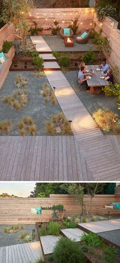 This fully landscaped backyard has the space split up into various sections, like dining, socializing, and resting. Along one side of the backyard, is a wood bench, that almost runs the entire length of the space.