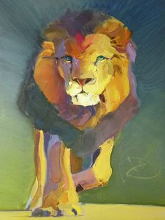 Lion on Blue-Green by Bob Ransley.