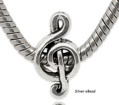 Treble Clef Music Note 925 Solid Sterling Silver European Dangle Bead Charm Euro