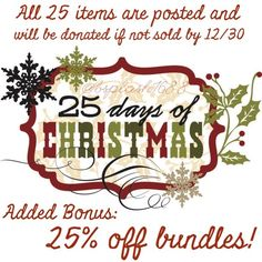 "🎄25 Days of Christmas!🎄 ALL ITEMS ARE POSTED!! PLUS, TAKE 25% OFF BUNDLES!! Each day from December 1-25, I selected one item from my closet as the ""item of the day""! Look for the 🎄 in the title! Any of the 25 items that have not sold by 12/30 will be removed from Posh and those items will be donated! Questions? Please ask! Check back each day to see the new item! ""Like"" this listing to be notified of my specials, sales, and promotions in the future! Other"