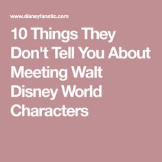 10 Things They Don't Tell You About Meeting Walt Disney World Characters