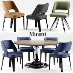 Стол и стулья minotti  NETO table OWENS CHAIR