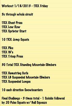 Another all TRX Friday - 1/18/13 Tabata Workouts, Trx Workout, Workout Plans, Workout Ideas, Fitness Workouts, Cardio, Trx Full Body Workout, Trx Class, Trx Yoga