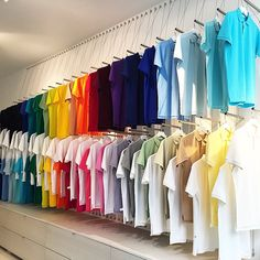 The rendering came into real life finally! Our perfect polo shirt rainbow display at 80 Thompson Street New York NY. (Btn Spring and Broome) Clothing Store Displays, Store Window Displays, Lacoste Store, Denim Display, Fashion Showroom, Store Layout, Store Interiors, Rainbow Store, Shirt Shop
