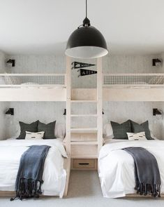 Bedroom lighting ideas to spark your own modern bedroom set! Find just the right lamp for your brand new bedroom refurbishment! Find out why modern bedroom room design is the way to go! Bunk Bed Rooms, Bunk Beds Built In, Double Bunk Beds, Build In Bunk Beds, Built In Beds For Kids, Cabin Bunk Beds, White Bunk Beds, Cool Bunk Beds, Kids Bunk Beds