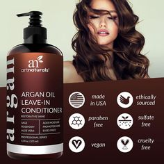 ArtNaturals Argan Oil Leave-In Conditioner - (12 Fl Oz / 355ml) - Made with Organic and Natural