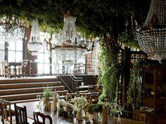 chandeliers in the garden room<3