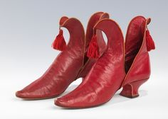A fantastic pair of red 'Juliet' slippers by Rosenbloom's, 1892.  American. The Metropolitan Museum of Art, New York, Brooklyn Museum Costume Collection