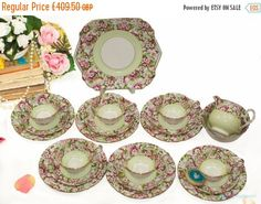 Your place to buy and sell all things handmade Vintage Tea, Unique Vintage, China Tea Sets, Side Plates, Milk Jug, Blossom Flower, Yellow Flowers, Bone China, Tea Cups