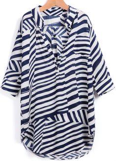 Shop Blue Asymmetrical Striped Loose Chiffon Blouse online. Sheinside offers Blue Asymmetrical Striped Loose Chiffon Blouse & more to fit your fashionable needs. Free Shipping Worldwide!