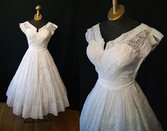 Wedding Bells 1950's  lovely white eyelet and lace by wearitagain, $228.00