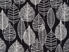 Cloud 9's organic cotton canvas print collection - Line Leaf Black Canvas | buy in-store and online at Ray Stitch