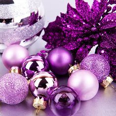 Large Glitter Christmas Balls Baubles Xmas Tree Hanging Ornament Decor New Merry Christmas, Christmas Images, Holiday Pictures, Modern Christmas, Purple Love, All Things Purple, Red Purple, Pink, Xmas Tree