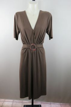 Size 14 L Ladies Brown Casual Dress Summer Style Boho Chic Festival Indi Design