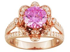 Bella Luce (R) 4.18ctw Pink And White Diamond Simulant Eterno (Tm) 18k Rose Gold Over Sterling Ring