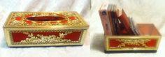 VTG  Mid Century HOLLYWOOD Red Velvet Gold Plastic Rose Leave Motif Kleenex Box