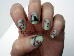 Blossoms and birds nail art.