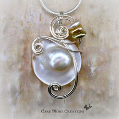 Opalescent Mabe Pearl Shell Wire Wrapped Pendant Necklace by CareMoreCreations.com, $29.00