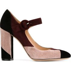 Gianvito Rossi Coulour Block Mary Jane Pumps (€645) ❤ liked on Polyvore featuring shoes, pumps, leather mary janes, chunky mary janes, mary jane pumps, high heel shoes and leather shoes