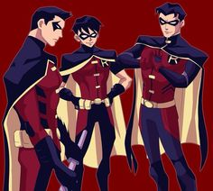 The Robins of Young Justice: From L to R - Tim Drake, Dick Grayson, and Jason Todd.