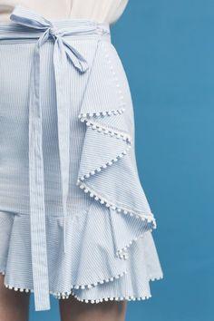 Slide View: 2: Ruffled Hem Poplin Skirt