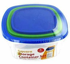 """3 Pack Square Storage Container Set Sith Lids by bulk buys. $23.41. Material: plastic. Colors: transparent,green,blue. Set is 3 square clear white plastic containers with 4 plastic lids that are blue and green. These are stackable containers with air tight easy open lids. They are freezer and microwave safe as well as top rack dishwasher safe. From smallest to largest they are: 35 oz. and measures 5 5/8"""" x 5 5/8"""" x 2 3/4"""", 63 oz. and measures 7 3/4"""" x 7 3/4"""" x 3 1/4"""",..."""