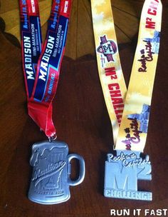Madison Mini Marathon Medal (2012) & M2 Challenge Medal. I will have both these and the Rock & Sole one by end of August this year. BRING IT.