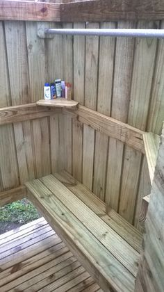 Inside of Outdoor Shower, Bench Seat, Shelves and Clothes Hanger/ Towel Bar...