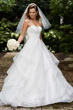 Wtoo Brides Selena Gown, love the simplicity with a touch of flair! Super slimming! watters.com